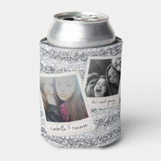 2 Photos - Silver Glitter Square Photo Collage Can Cooler