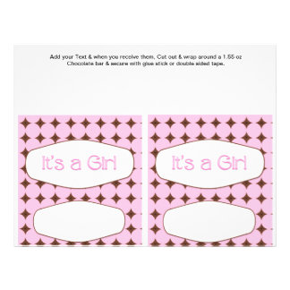2 Pink Baby Shower Favor Custom Candy Bar Wrappers 21.5 Cm X 28 Cm Flyer