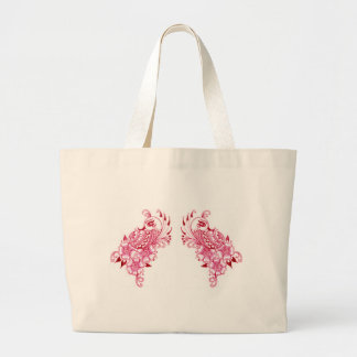 2 Pink Mehndi Henna peacock art Canvas Bag
