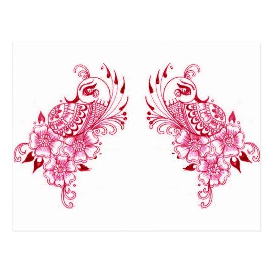 2 Pink Mehndi Henna peacock art Postcard