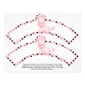 2 Pink Poodle Birthday Custom Cupcake Wrappers 21.5 Cm X 28 Cm Flyer