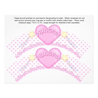 2 Pink Princess Birthday Custom Cupcake Wrappers 21.5 Cm X 28 Cm Flyer