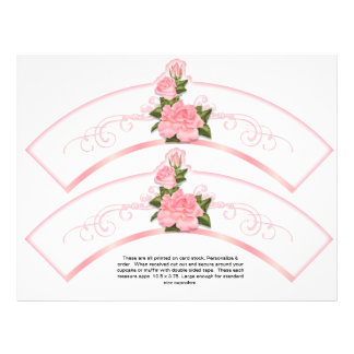 2 Pink Roses Generic Personalize Cupcake Wrappers 21.5 Cm X 28 Cm Flyer
