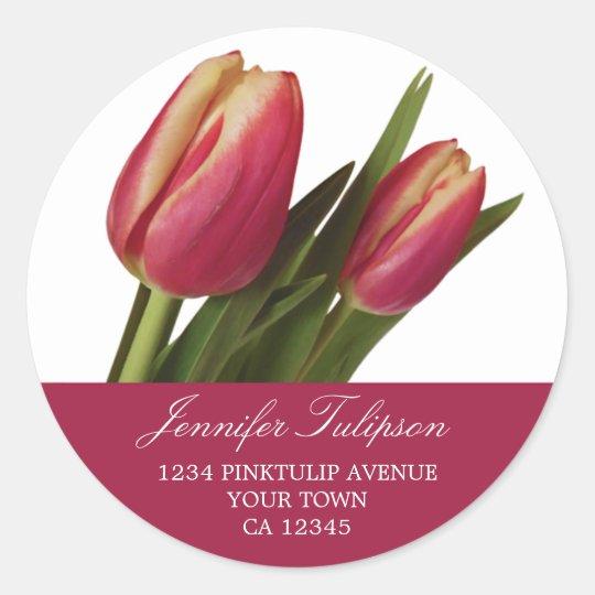 2 Pink & Yellow Tulips Classic Round Sticker