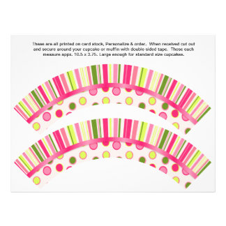 2 Polka Dot Birthday Personalize Cupcake Wrappers 21.5 Cm X 28 Cm Flyer