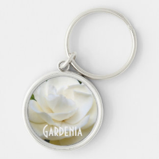 2 Pure White Gardenia Silver-Colored Round Key Ring