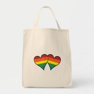 2 Rainbow Hearts Tote Bags