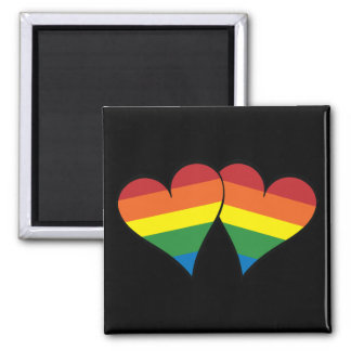 2 Rainbow Hearts Square Magnet