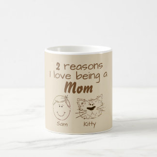 2 Reasons I love being a Mom - Boy & Cat Coffee Mug