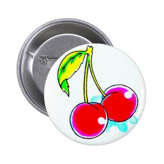 2 red cherries 6 cm round badge