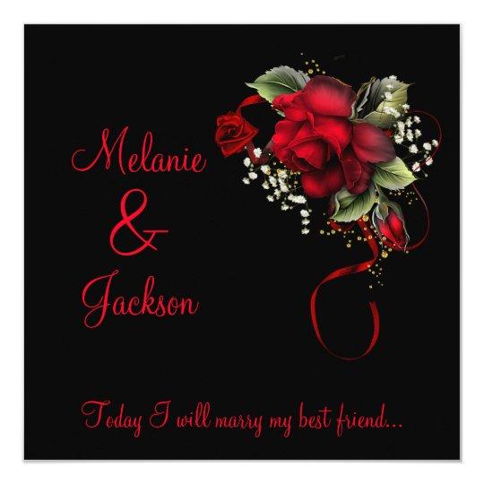 #2 Red Roses Ribbon Babys Breath Wedding Card