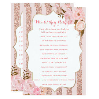 2 Rose Gold and Pink Bridal Shower Games Card