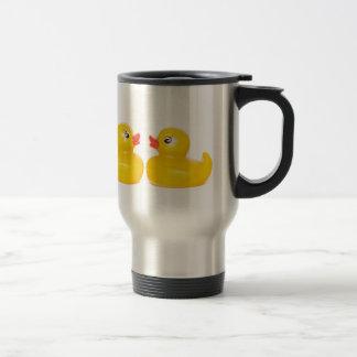 2 rubber ducks in love stainless steel travel mug