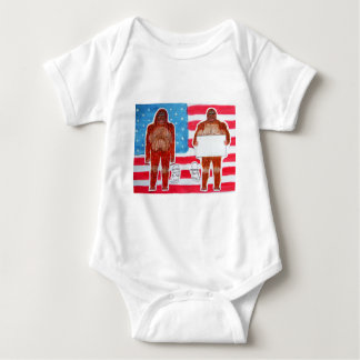 2 Sagittal Bigfoot, 1 text on U.S.A. flag,.JPG Baby Bodysuit