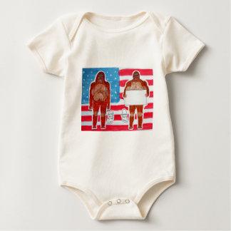 2 Sagittal Bigfoot, 1 text on U.S.A. flag,.JPG Baby Bodysuit
