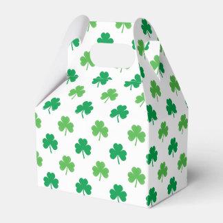 2-Shades of Green Shamrocks on White St. Patrick's Favour Box
