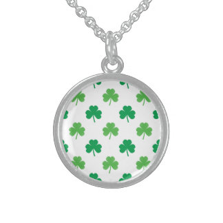 2-Shades of Green Shamrocks on White St. Patrick's Sterling Silver Necklace