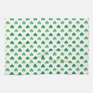 2-Shades of Green Shamrocks on White St. Patrick's Tea Towel