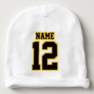 2 Side Beanie WHITE BLACK GOLD Football Jersey Baby Beanie