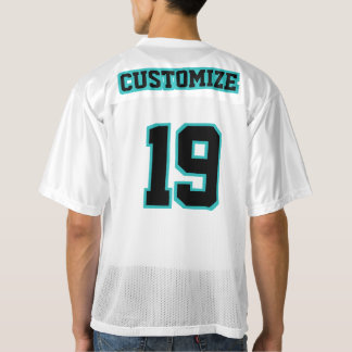2 Side BLACK TURQUOISE WHITE Mens Football Jersey