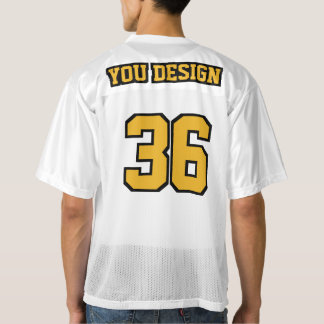 2 Side GOLD BLACK WHITE Mens Football Jersey