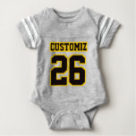 2 Side GRAY BLACK GOLD Crewneck Football Outfit Infant Bodysuit