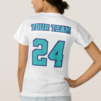 2 Side TURQUOISE NAVY BLUE WHITE Women Team Jersey