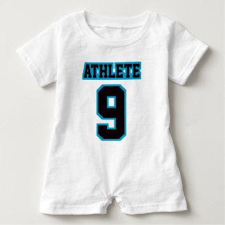 2 Side WHITE BLACK BLUE Romper Football Jersey Baby Bodysuit