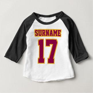 2 Side WHITE BLACK BURGUNDY GOLD 3/4 Sleeve Raglan Baby T-Shirt