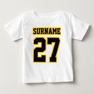 2 Side WHITE BLACK GOLD Football Crewneck Baby T-Shirt
