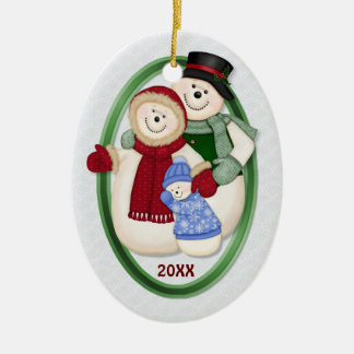 2 Sided - 1st Christmas Blue Frosty Snowman Family Christmas Ornament