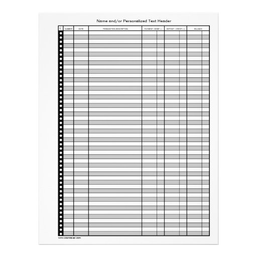 2 Sided Banking Transaction Register Pages Flyers Zazzle