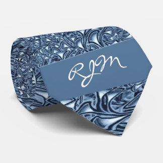 2-Sided Blue Paisley Monogrammed Tie