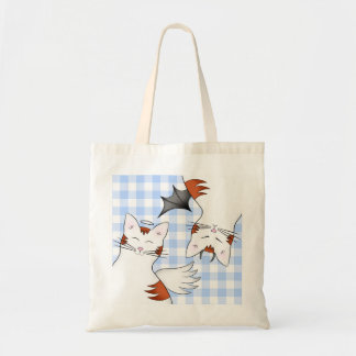 2 sides to a cat, good kitty and bad orange tabby tote bag