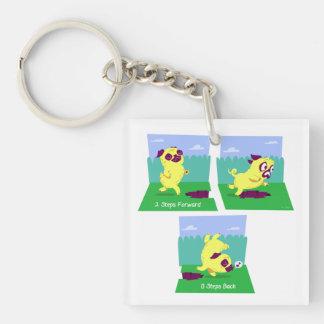 2 Steps Forward, 0 Steps Back Motivational Pug Dog Single-Sided Square Acrylic Keychain