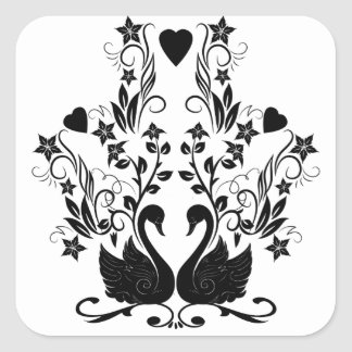 2 Swans black Square Sticker