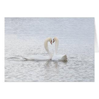 2 swans form a heart card