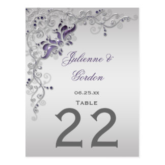 #2 Table Cards Ornate Purple Silver Floral Swirls