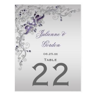 #2 Table Cards Ornate Purple Silver Floral Swirls Postcard