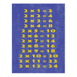2 Times Table Collectible Postcard