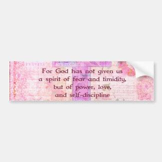 2 Timothy 1:7  Biblical quote scripture Car Bumper Sticker