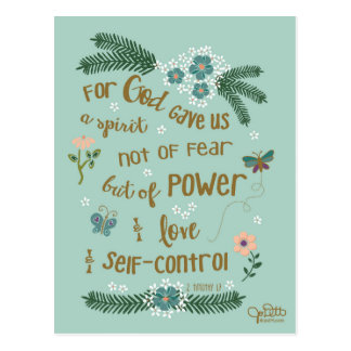 2 Timothy 1:7 hand lettered Scripture art Postcard
