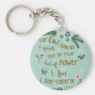 2 Timothy 5:7 Scripture art hand lettered Basic Round Button Key Ring