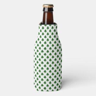 2-Tone Shamrock Green on White St.Patrick's Clover Bottle Cooler