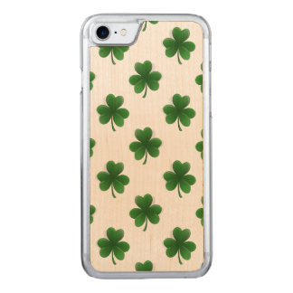 2-Tone Shamrock Green on White St.Patrick's Clover Carved iPhone 7 Case
