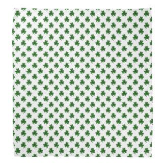 2-Tone Shamrock Green on White St.Patrick's Clover Kerchief