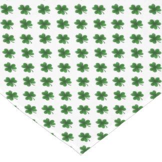 2-Tone Shamrock Green on White St.Patrick's Clover Long Table Runner