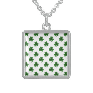 2-Tone Shamrock Green on White St.Patrick's Clover Necklaces