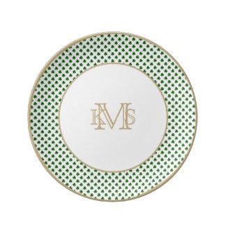2-Tone Shamrock Green on White St.Patrick's Clover Porcelain Plates