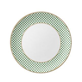 2-Tone Shamrock Green on White St.Patrick's Clover Porcelain Plate